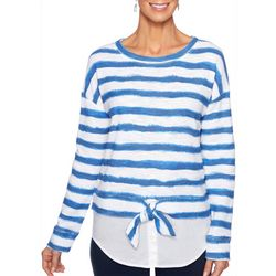 Ruby Road Favorites Petite Striped Faux Layered Top