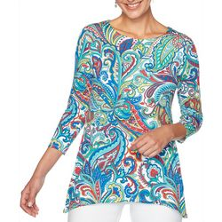 Ruby Road Favorites Petite Paisley Print Jewel Neck Top