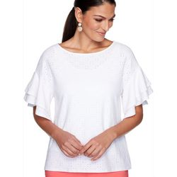 Ruby Road Favorites Petite Soild Eyelet Embroidered Top