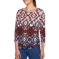 Ruby Road Favorites Petite Ruched Ikat Print Top