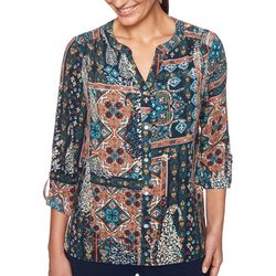 Petite Medallion Print Pleated Top