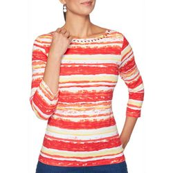 Ruby Road Favorites Petite Striped Jeweled Neck Top