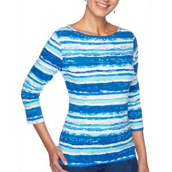 Petite Striped Jeweled Neck Top