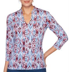 Ruby Road Favorites Petite Ikat Print Funnel Neck Top