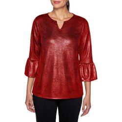 Ruby Road Favorites Petite Foil Solid Bell Sleeve Top