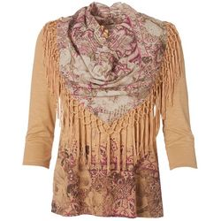 OneWorld Petite Tassel Scarf Neck Top
