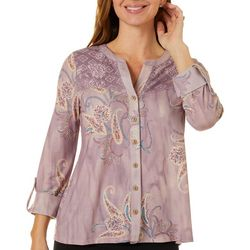OneWorld Petite 3/4 Sleeve Floral Lace Button Down Top