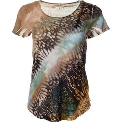 OneWorld Petite Mixed Animal Embellished Short Sleeve Top