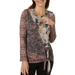 OneWorld Petite Floral Tie Front Long Sleeve Top