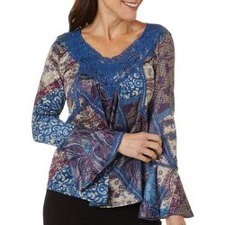 OneWorld Petite Mixed Print Bell Sleeve Top
