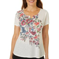 OneWorld Petite Blooming Floral Split Neck Short Sleeve Top