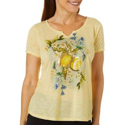 OneWorld Petite Lemon Bliss Split Neck Short Sleeve Top