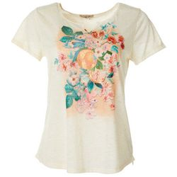 OneWorld Petite Orange Blossom Screen Print Scoop Neck Top