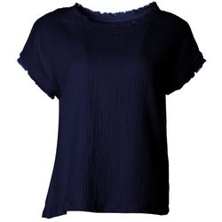 Kaktus Petite Solid Frayed Short Sleeve Shirt