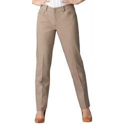 Petite Straight Leg Plain Front Pants