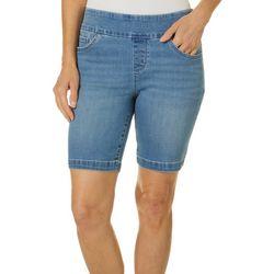 Petite Solid Sculpting Pull On Bermuda Shorts