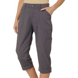 Petite Flex-To-Go Solid Relaxed Fit Cargo Capris