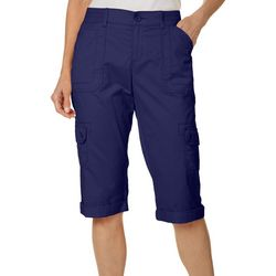 Petite Flex-To-Go Solid Relaxed Fit Cargo Skimmer Capris