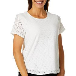 Leo & Nicole Petite Solid Eyelet Knit Short Sleeve Top