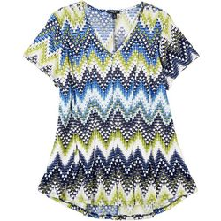 Sami & Jo Womens Petite Chevron Textured Top