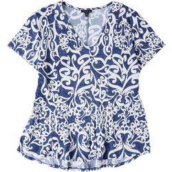 Sami & Jo Womens Petite Swirl Textured Top