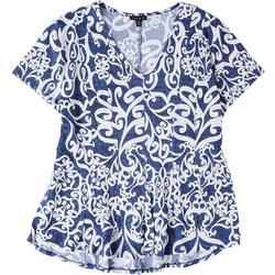 Womens Petite Swirl Textured Top