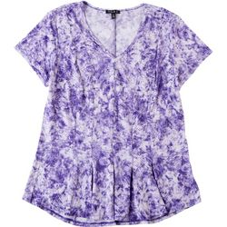 Sami & Jo Petite Fit & Flare Lilac Flowery Top