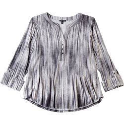 Sami & Jo Womens Split Neck Button Embellished Top