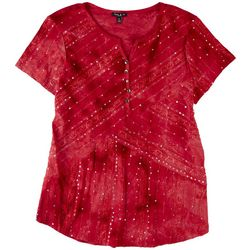 Sami & Jo Petite Sequin Tie-Dye Short Sleeve Top