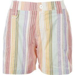 Fresh Petite Multi Color Stripes Shorts