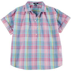 Chaps Petite Plaid Button Placket Short Sleeve Top