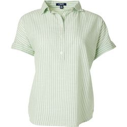 Chaps Petite Stripe Button Placket Short Sleeve Top