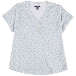 Chaps Petite Floral Print Henley Short Sleeve Top