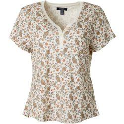 Chaps Petite Floral Paisley Henley Short Sleeve Top