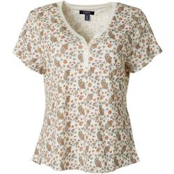 Petite Floral Paisley Henley Short Sleeve Top