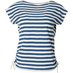Chaps Petite Striped Tie Short Sleeve Top