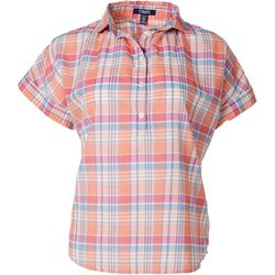 Chaps Petite Plaid Print Button Placket Short Sleeve Top