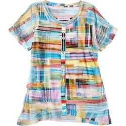 Onque Petite Abstract Printed Button Down Short Sleeve