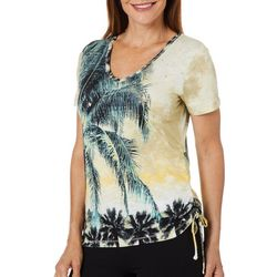 Onque Casual Petite Embellished Palm Side Tie Top