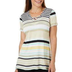 Onque Casual Petite Striped Embellished Neck Tunic Top