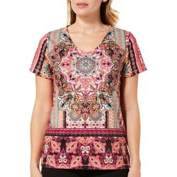 Onque Casual Petite Embellished Damask Border Print Top