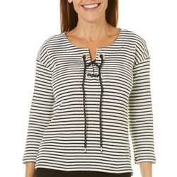 Thomas & Olivia Petite Stripe Lace Up Neck Top