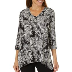 Onque Casual Petite Paisley Print Embellished V-Neck Top