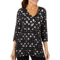 Onque Casual Petite Mixed Geo Print Sharkbite Top