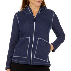 Onque Petite Faux Denim Zip Up Hooded Jacket