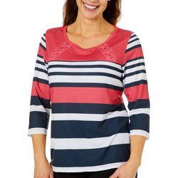 Sportelle Petite Striped Lace-Up Shoulder Top