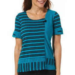 Onque Casual Petite Mixed Stripe Short Sleeve Top