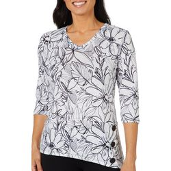 Onque Casual Petite Asymmetrical Button Detail Floral Top
