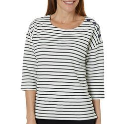 Sportelle Petite Stripe Button Shoulder Top