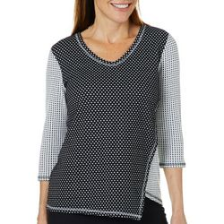 Sportelle Petite Dotted Colorblock Asymmetrical Top